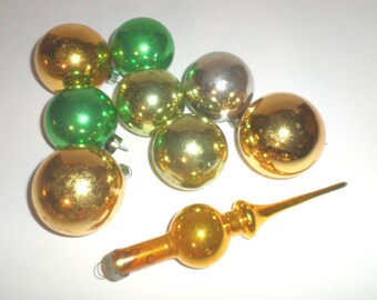 Vintage Christmas Ornaments - Glass Ornaments - Round Ornaments - Tapered Ornament - Green and Gold Christmas Ornaments - Vintage Ornaments