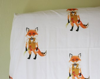 Mr. Fox Crib Sheets, Changing Pad Covers, Indie Fabric Printed Just for you