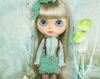 jiajiadoll hand-knitting green blue sheep pompom overall skirt fit Blythe or Jerryberry or Azone or Pullip or YOSD