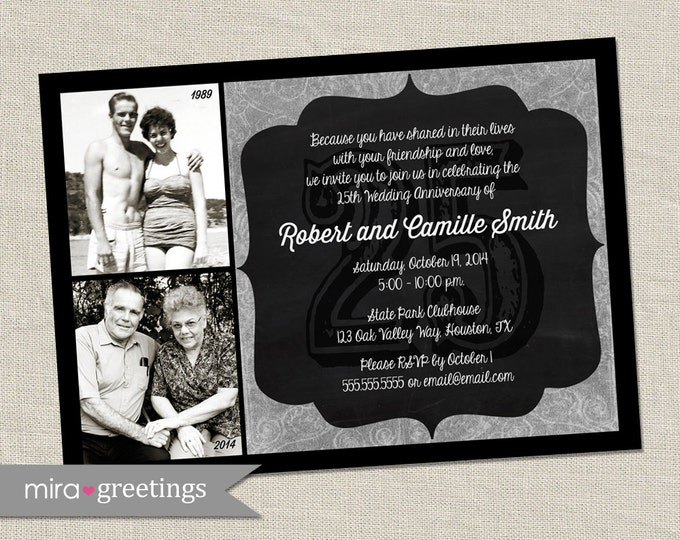25th Anniversary Photo Invitation - Printable Digital File