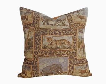 African Pillow Covers, Tiger, Elephant, Leopard, Animal Safari Pillow, Brown Green Gold Pillows, Masculine Decor, 12x18 Lumbar, 18x18, 20x20