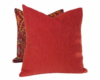 Rustic Red Pillow Covers, Brick Red Pillows, Southwestern Cushion Covers, Textured Throw Pillows, Rust Toss Pillows,  18, 20, 22, 24, 26