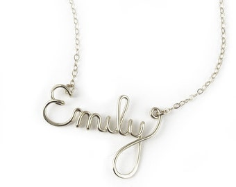 Custom Script Name Necklace in sterling silver