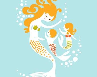 "8X10"" mermaid mother and baby boy and girl giclee print on fine art paper. sky blue, green, dark orange, blonde"