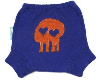 "WOOL SOAKER - Wool Diaper Cover - ""Skull Sweetz"" - Large 18m-2t"