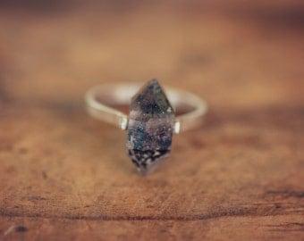 Herkimer Diamond Ring, Sterling Silver Band - Custom Sizing - Stone Quartz Crystal