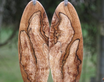Large Stunning Spalted Maple Wood Earrings