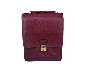 French Vintage 70s Burgundy Leather Messenger Bag