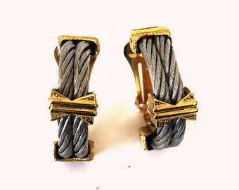 French Vintage 80s Silver Gold Clip on Earrings