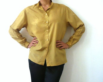 French Vintage Mustard Silk Blouse