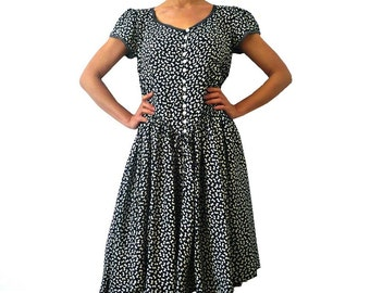 reserved for ALEX B French Vintage Bows Print Cotton Dress
