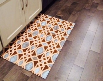 Canvas Floorcloth Rug Filigree Pattern Hand Painted Brown Blue Taupe Floor Cloth Custom Color and Sizes Available