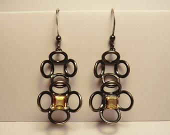 Silver Flower long drop earrings - Oxidised sterling silver with square cut cubic citrine