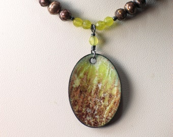 Enameled Copper Art Pendant on Pearl Necklace, Art Jewelry, Landscape Nature Images, Original Vitreous Enamel, WillOaks Studio Gift for Her