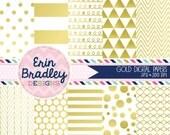 50% OFF SALE Gold Digital Paper Pack Digital Gold Foil Effect Commercial Use Scrapbook Paper Chevron Polka Dots Stripes Triangles