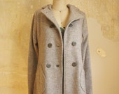 SALE, Half OFF, Oatmeal melange boiled wool knit coat, virgin merino wool coat with hood, XS last one