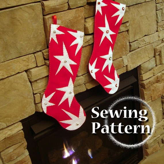 Extra Large Christmas Stocking pattern | DIY Christmas Stockings with Stars | PDF Sewing pattern | Almost 2 feet long | Instant download