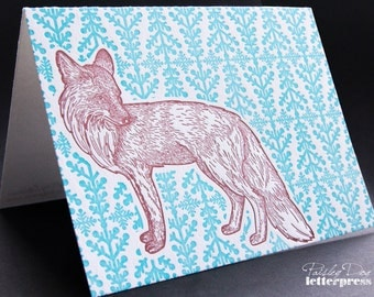Letterpress Holiday Greeting Card - Winter Fox (single)