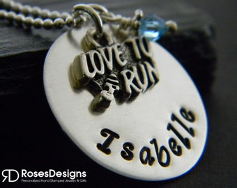Personalized Love to Run Necklace, Handstamped Necklace, Marathon, Track, Cross Country, by RosesDesigns