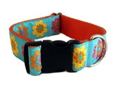 """Turquoise Floral Wide Dog Collar 1.5"""" - Buckle or Martingale"""