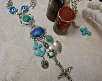 As Luck Would Have It: Evil Eye Necklace FESTIVAL Protection Anchor Heart Cross Vintage Faith Hope Charity Turquoise Green Blue Religious