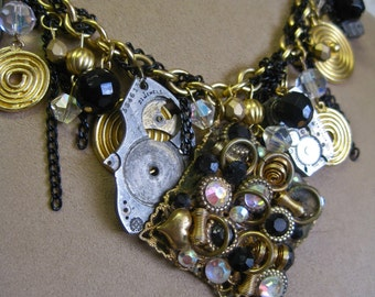 Borrowed Time: Steampunk Choker Necklace Vintage Assemblage Watch Parts Gold Black Sparkle Aurora Crystals Abstract Modernist