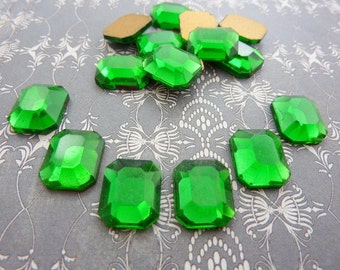 Vintage Emerald Octagon Glass Rhinestone (4)