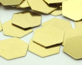 50 Raw Brass Hexagon Stamping Blank (12mm) B0197