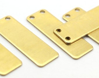 Brass Necklace Bar, 12 Raw Brass Rectangle Stamping Blank, Pendant with 2 Holes (30x10x0.80mm) b0135