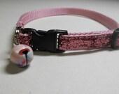 Pink Glitter Cat or Kitten Safety Collar - Pink Sparkles, Girl cat. Bling collar