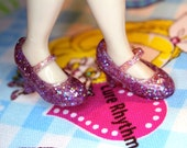 Blythe and Pullip Pink/ Lilac Glittery High Heeled Mary Jane shoes