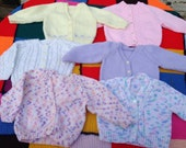 Traditional hand knitted by Nanna's baby cardigan set age 12 months 1 year pink white mint green lemon yellow purple cable button up warm
