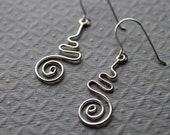 Sterling silver earrings Squiggle Earrings, dangles, spirals, snake, drop earrings