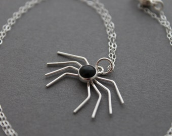 Sterling silver necklace - Spider - Black Onyx necklace - Handmade Halloween