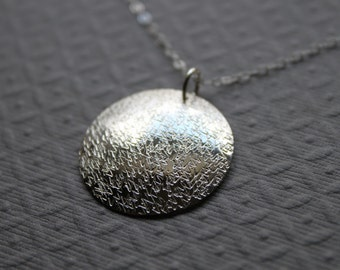 Sterling silver necklace layering necklace zig zag texture circle necklace