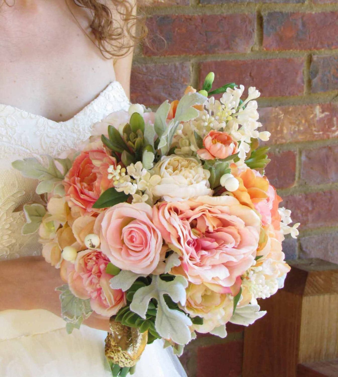 White Peach Pink Flower Wedding Altar: Pink Peach & Ivory Wedding Bouquet With Succulents Ready To
