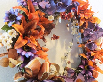 X Large Victorian Beaded Wreath for Autumn or Year Around in Plum Orchids and Orange Peach Lilies