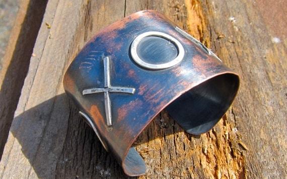 Mixed Metal Cuff,  Copper and Sterling Cuff,  Urban Metal Cuff, X0X0