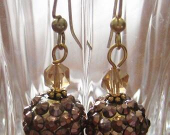 Elegant Amber/Topaz Glass Dangle Earrings