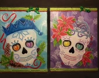 Original Christmas Painting Feliz Navidead Pair of Sugar Skulls