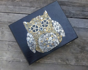 Upcycled Cigar Box - Steampunk Owl Clash of the Titans
