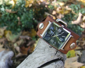 Hand-Crafted Reformation Deep Tan Leather Watch-band and Watch-face for Men or Women