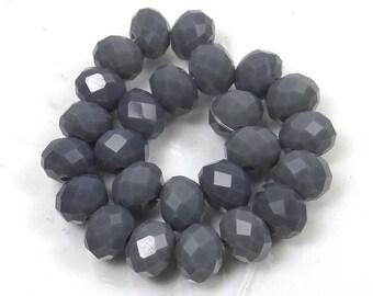 25 Czech Glass Faceted Rondelle Beads - Opaque Montana Blue 8mm (e7115)