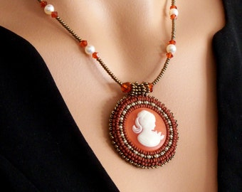 Rust Cameo Pendant Necklace with Swarovski Crystals and Pearls