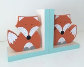 Fox Bookends, Orange and Aqua Blue, Woodland Nursery, Woodland Kids Decor, Fox Nursery, Forest Themed Nursery, eco friendly