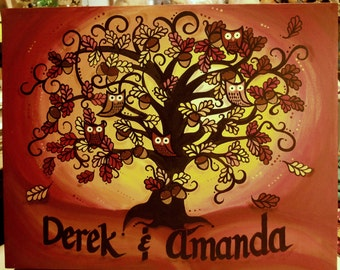 Custom painted UNIQUE FamilyTree...Wise Owls & Acorns in an Oak Tree...