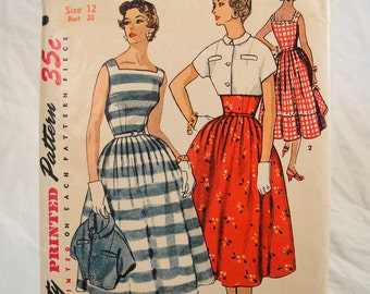 Vintage sewing pattern 1950s dress and jacket Simplicity 4642 1954 simple to make Bust 30""