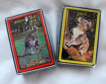 Vintage Australian playing cards Koala Kangaroo and Joey souvenir travel card games