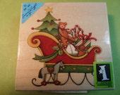 Inkadinkado Christmas Sleigh with Tree Toys Candy Canes Teddy Bear Susan Winget