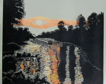 Canal by Moonlight limited edtion, hand printed, hand signed in pencil by the artist, linocut & silkscreen